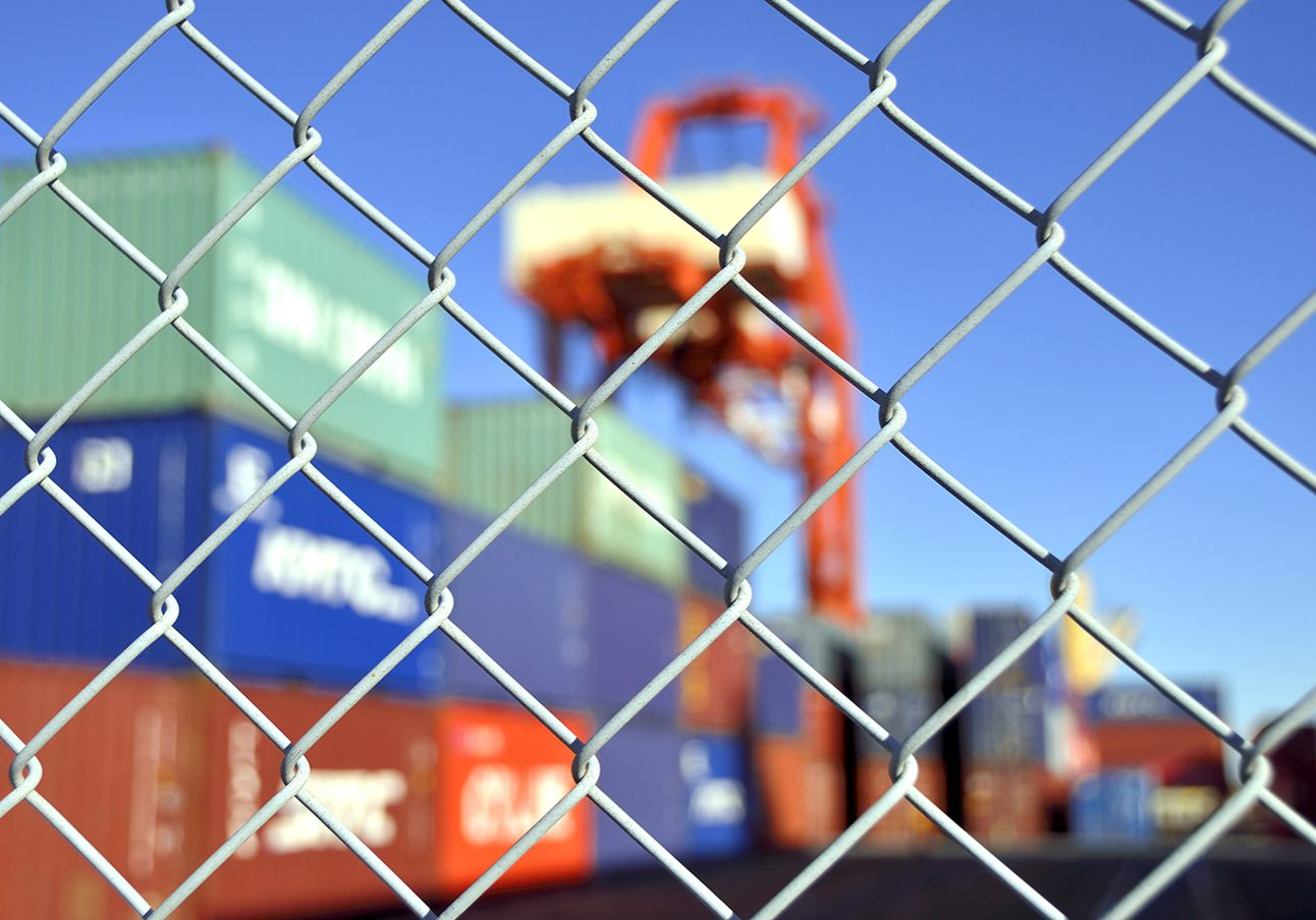 container yard security fence ; Shutterstock ID 359505032